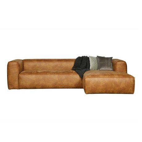 LEF collections Corner sofas Bean longchair right cognac brown leather 305x73x96 / 175cm