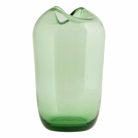 Housedoctor Wave green glass vase ø15x23cm