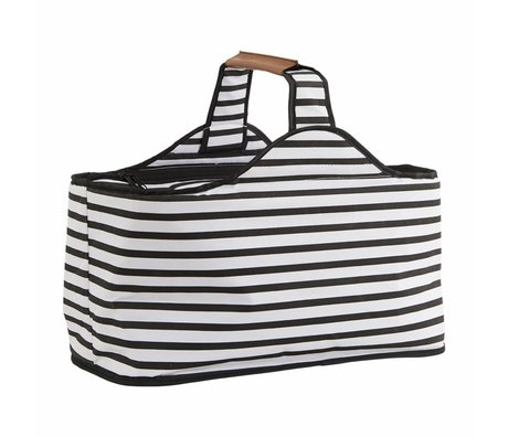 Housedoctor Koeltas Stripes zwart wit polyester aluminium 47x24x22,5cm