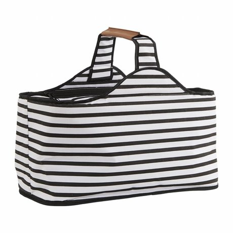 Housedoctor Coolbag Stripes black and white polyester, aluminum, 47x24x22,5cm