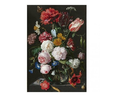 Arty Shock Peinture Jan Davidsz de Heem - Nature morte avec des fleurs dans un vase en verre multicolore XL Plexiglas 150x225cm