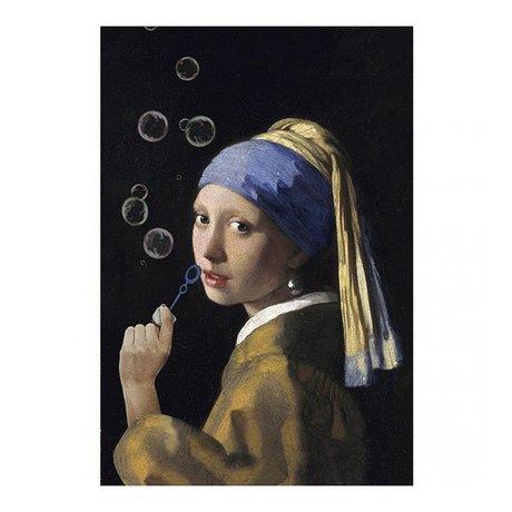 Arty Shock Schilderij Vermeer - Meisje met de parel - The bubble edition M multicolor plexiglas 80x120cm