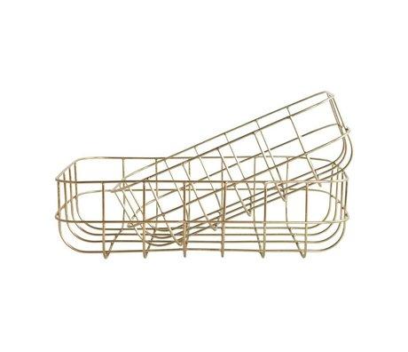 Housedoctor Drahtkörbe einfach Gold Eisen Satz von zwei 16x24x8cm / 20x28x8cm