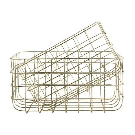 Housedoctor Drahtkörbe einfach Gold Eisen Satz von zwei 20x28x16cm / 24x32x16cm