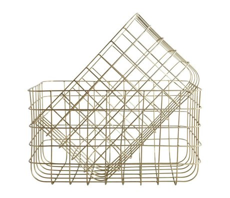 Housedoctor Wire baskets Simply gold iron set of two 24x32x20cm / 28x36x20cm