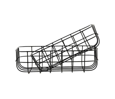 Housedoctor Drahtkörbe einfach schwarz Eisen Satz von zwei 16x24x8cm / 20x28x8cm
