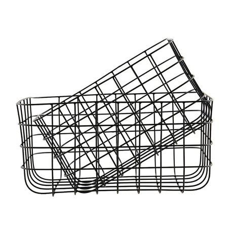 Housedoctor Drahtkörbe einfach schwarz Eisen Satz von zwei 20x28x16cm / 24x32x16cm