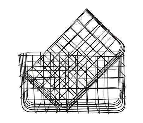 Housedoctor Drahtkörbe einfach schwarz Eisen Satz von zwei 24x32x20cm / 28x36x20cm