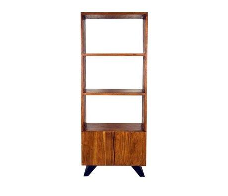LEF collections Temba bibliothèque brun 70x45x175cm de métal de bois