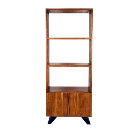 LEF collections Temba bookcase brown wood metal 70x45x175cm