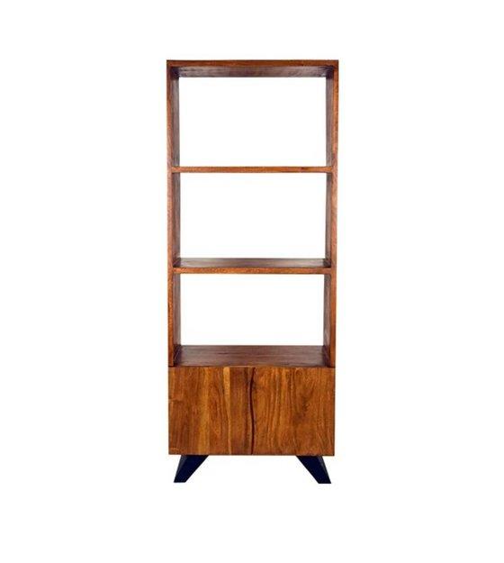 LEF collections Boekenkast Temba bruin hout metaal 70x45x175cm ...