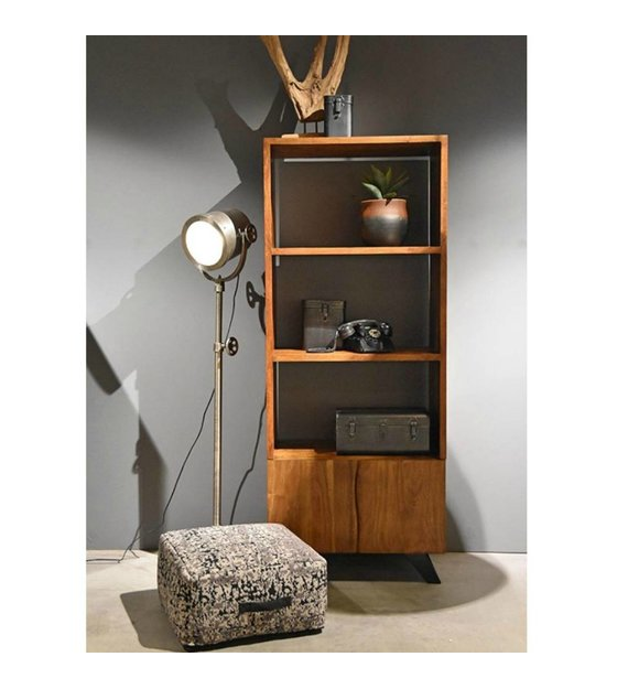 Boekenkast Temba bruin hout metaal 70x45x175cm - wonenmetlef.nl