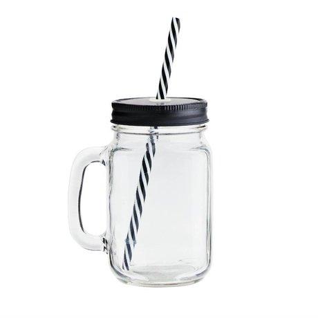 Madam Stoltz Becherglasdeckel transparent schwarz Ø10x13,5cm