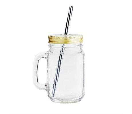 Madam Stoltz Goblet gelber transparenter Glasdeckel Ø10x13,5cm