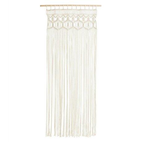 Madam Stoltz Macrame Vorhang weißen Baumwollholz à 70x180 cm
