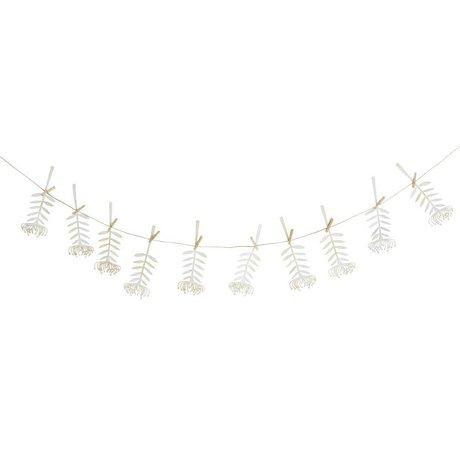Madam Stoltz Garland Flower tendril white paper 5,5x15cm 10 clips