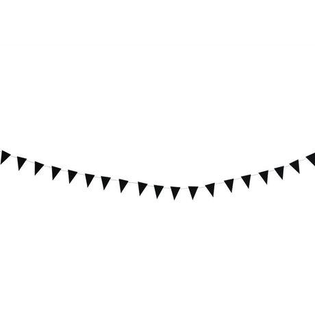 Madam Stoltz Slinger vlaggetjes zwart papier 3m