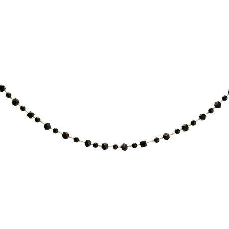 Madam Stoltz Garland balls black wood 120cm