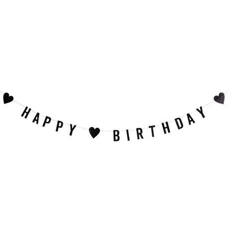 Madam Stoltz Slinger happy birthday glitter zwart papier 1M