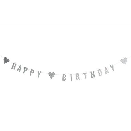 Madam Stoltz Slinger happy birthday glitter zilver papier 1M