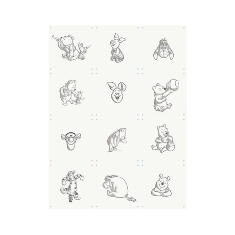 IXXI Wall decoration Wishing Pooh collage white black paper 12 cards 20x20cm