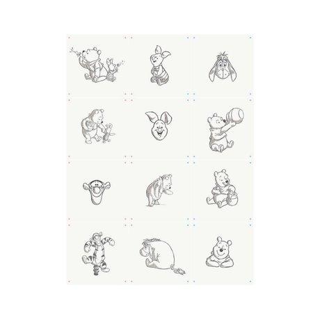 IXXI Wanddekoration Wishing Pooh Collage weißes Papier 20x20cm 12 Tickets
