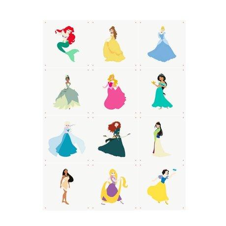 IXXI Wanddekoration Disney-Prinzessinnen Collage buntes Papier 12 Karten 20x20cm