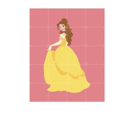 IXXI Wanddeko Disney Princess Belle rosa gelbes Papier 80x100cm