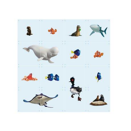 IXXI Wanddecoratie Finding Dory collage lichtblauw multicolour papier 16 kaartjes 20x20cm