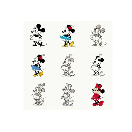 IXXI Wanddekoration Minnie Mouse-Animation Mehrfarbenpapier 9 Karten 20x20cm