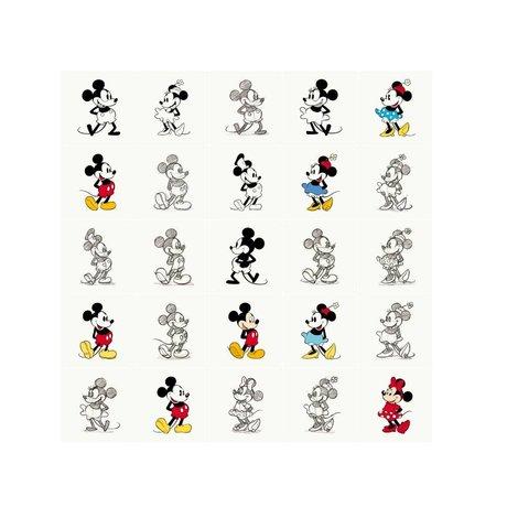 IXXI Wanddekoration Mickey und Minnie Mouse-Animation Mehrfarbenpapier 25 Karten 20x20cm