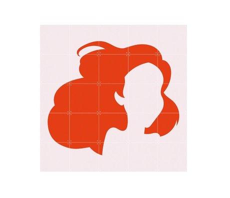 IXXI Wanddeko Disney Ariel Minimalismus orangefarbenes Licht rosa Papier S 100x100cm