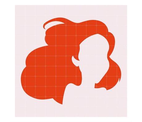 IXXI Wanddeko Disney Ariel Minimalismus orangefarbenes Licht rosa Papier L 220x220cm