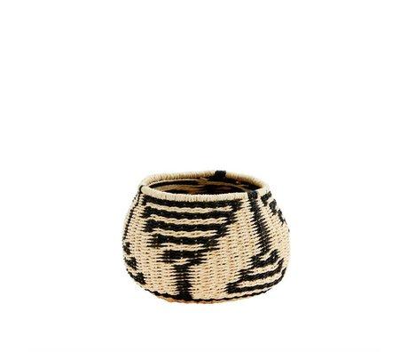 Madam Stoltz Basket black natural paper rope 15x11cm