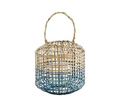 Madam Stoltz Lantaarn blauw naturel bamboe glas 31x31cm