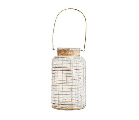 Madam Stoltz Lantaarn wit naturel bamboe glas 15x27cm