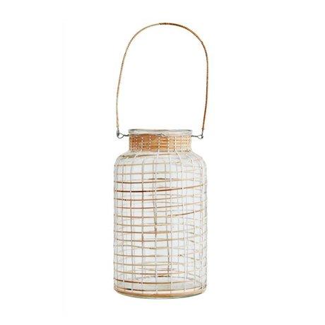 Madam Stoltz Natürliche Bambus Laterne weißes Glas 15x27cm
