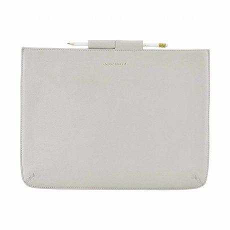Housedoctor Cover Ipad Pro grijs leer/katoen 35,5x26,5cm