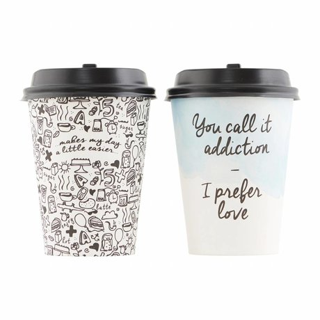 Housedoctor Papieren beker Set To Go Coffee Addiction H:11cm