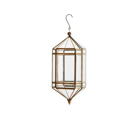 Madam Stoltz Laterne Messing Gold Glas 14,5x37cm