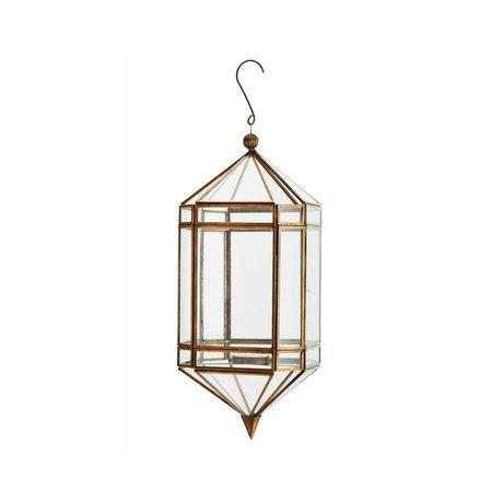 Madam Stoltz Lantern brass gold glass 14,5x37cm