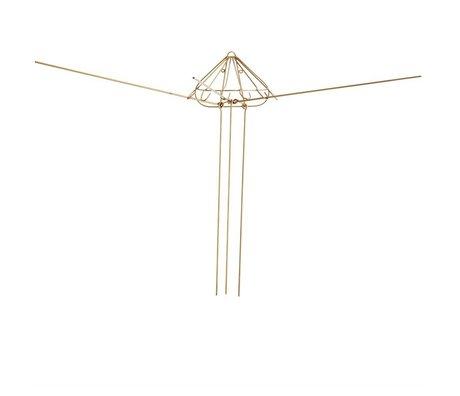Madam Stoltz Séchoir à linge crochet en métal or 6 30x15x80cm