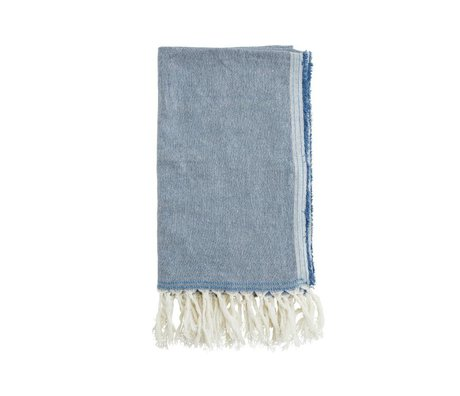 Madam Stoltz Handdoek blauw katoen 105x180cm