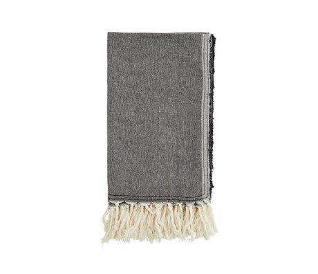 Madam Stoltz serviette en coton noir 105x180cm