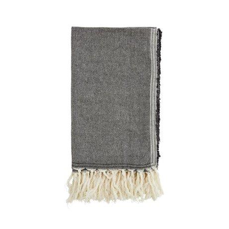 Madam Stoltz Handdoek zwart katoen 105x180cm
