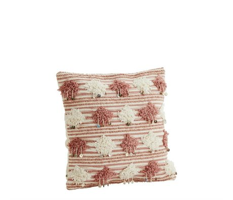 Madam Stoltz Cushion cover dusty pink white cotton 45x45cm