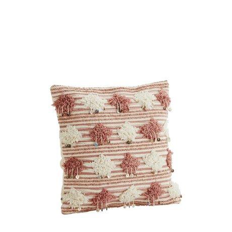 Madam Stoltz Kussenhoes dusty roze wit katoen 45x45cm