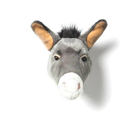 Wild and Soft Dierenkop ezel Francis grijs textiel 44x59x25cm