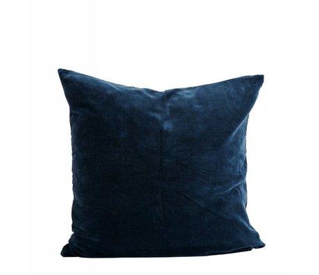 Madam Stoltz Taie d'oreiller en coton bleu 60x60cm