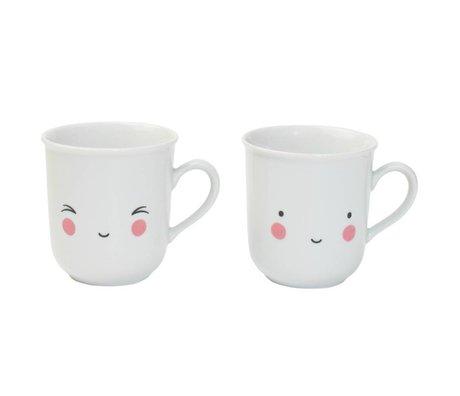 A Little Lovely Company Teacups thé en porcelaine Soif blanc Fun jeu de deux 9,5x8x7,5cm